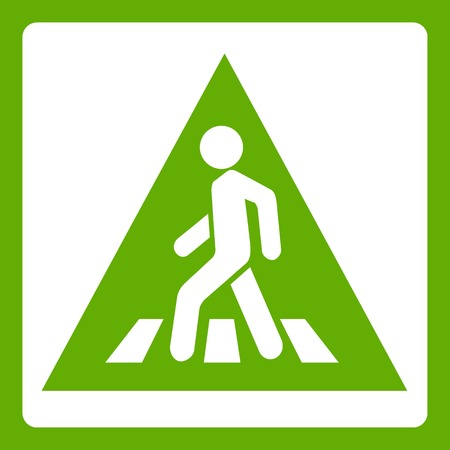 Pedestrian road sign icon white isolated on green background. Vector illustration