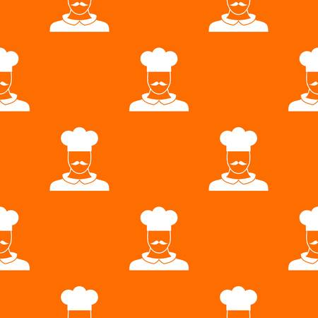 Male chef cook pattern repeat seamless in orange color for any design. Vector geometric illustration