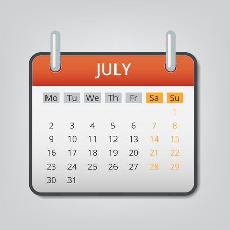 July 2018 calendar concept background. Cartoon illustration of july 2018 calendar vector concept background for web design Illustration