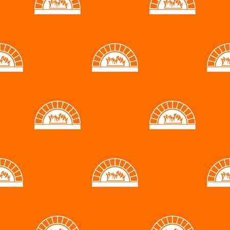Pizza oven with fire pattern repeat seamless in orange color for any design. Vector geometric illustration
