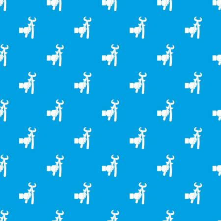 Hand holdimg calipers pattern repeat seamless in blue color for any design. Vector geometric illustration Illustration