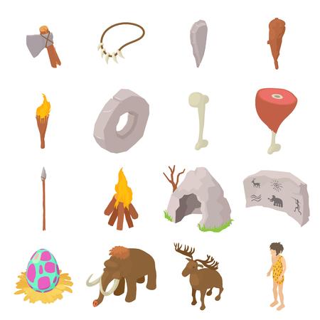 Cavemen human icons set, style isométrique