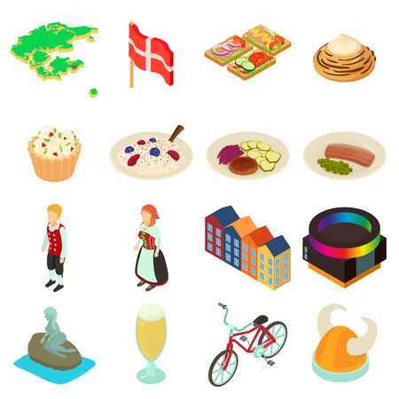 Denmark travel icons set, isometric style