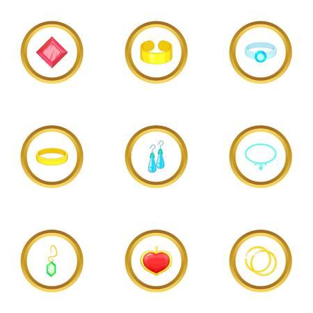 Bijou icons set. Cartoon style set of 9 bijou vector icons for web design