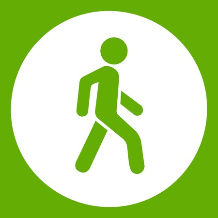 Pedestrians only road sign icon white isolated on green background. Vector illustration Illustration