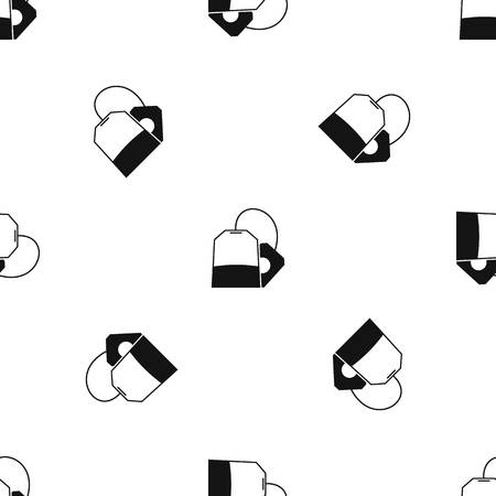 british culture: Teabag pattern repeat seamless in black color for any design. Vector geometric illustration