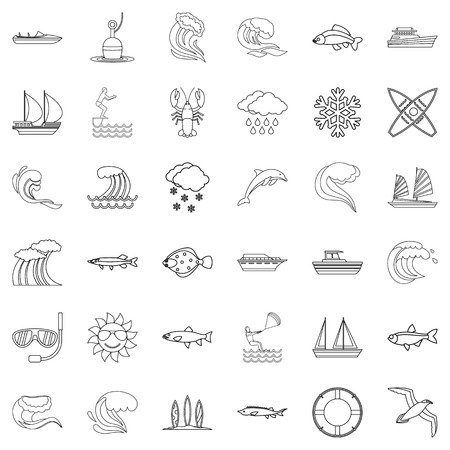 Wet icons set. Outline style of 36 wet vector icons for web isolated on white background