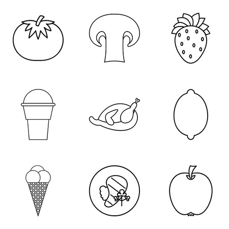 Restaurant food icons set. Outline set of 9 restaurant food vector icons for web isolated on white background