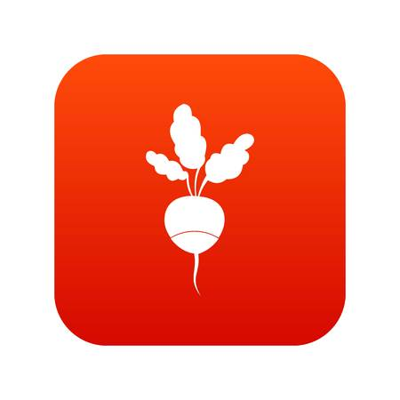 Fresh radish icon digital red