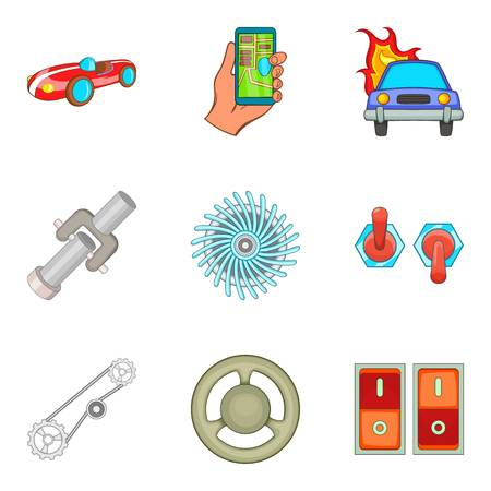 electronic components: Automotive electronics icons set. Cartoon set of 9 automotive electronics vector icons for web isolated on white background Illustration
