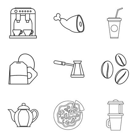Coffee on street icons set. Outline set of 9 coffee on street vector icons for web isolated on white background