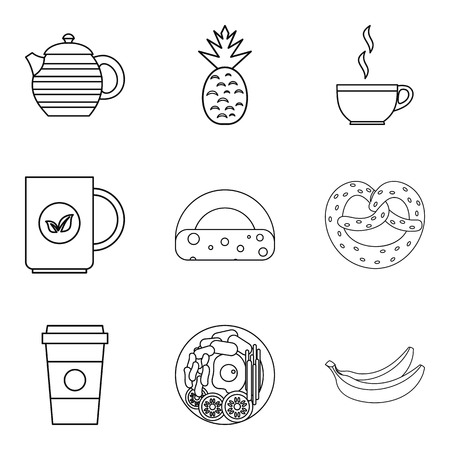 Coffee to go icons set. Outline set of 9 coffee to go vector icons for web isolated on white background Illustration