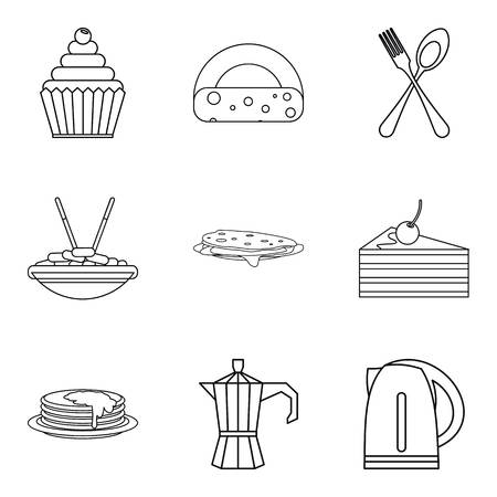 Lunch in dining room icons set, outline style