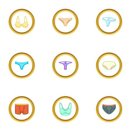 Underclothes icons set, cartoon style