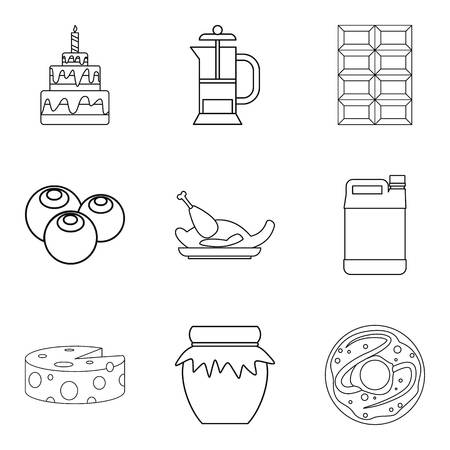 Delicious food icons set, like cake chocolate chicken outline style