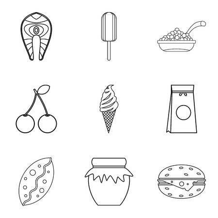 Food for work icons set, outline style Illustration