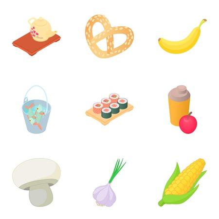 Japanese diet icons set