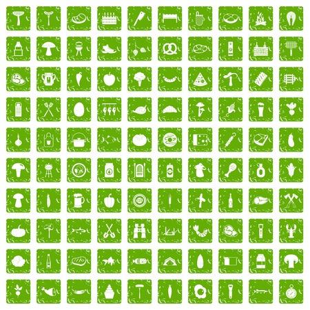 bbq barrel: 100 barbecue icons set grunge green