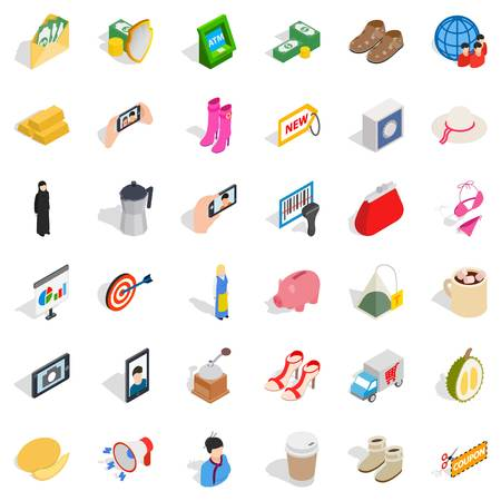 Woman icons set, isometric style Illustration