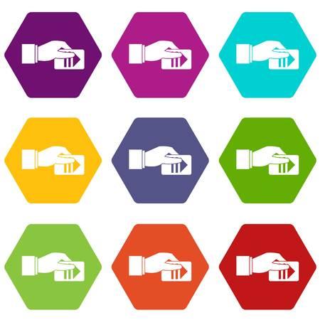 Mano con hexahedron di colore dell'icona del biglietto di parcheggio stabilito Vettoriali