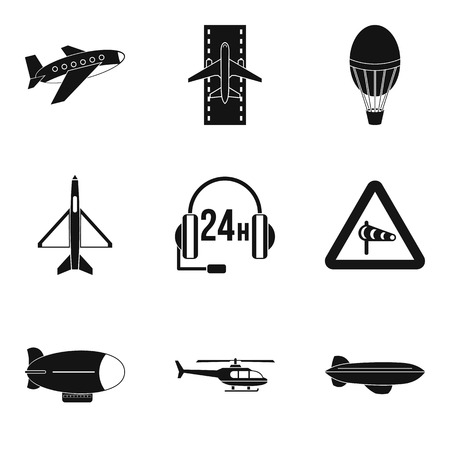 Supersonic aircraft icons set, simple style