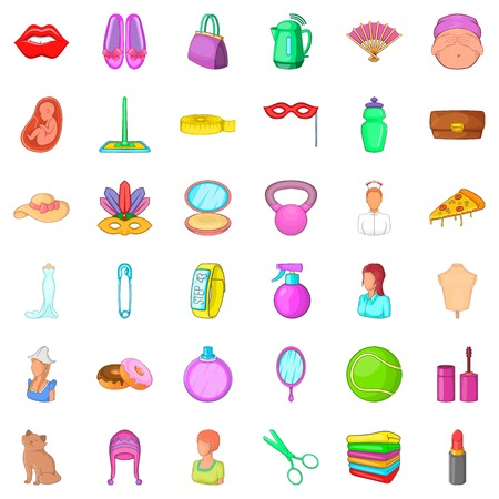 pregnant women donuts: Mask icons set, cartoon style Illustration
