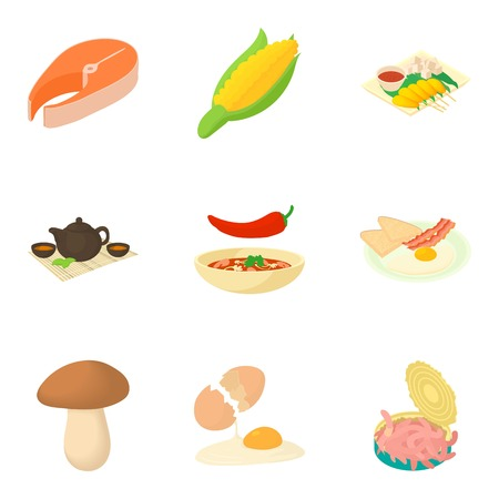 Spicy food icons set, cartoon style Illustration