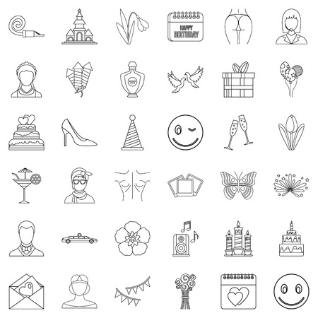 Shoe icons set, outline style