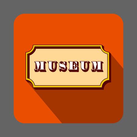 Musem emblem concept background, cartoon style Illustration