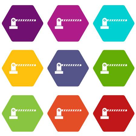Parking barrier icon set color hexahedron