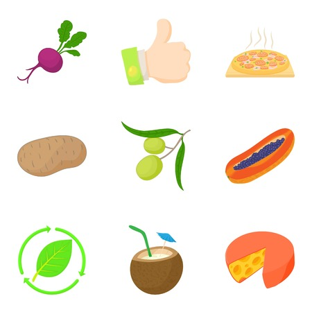 Vegetable in food icons set, cartoon style
