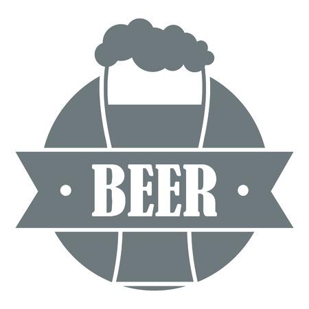 ガラスのビールのロゴ、シンプルなグレー スタイル