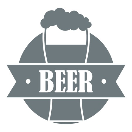 Glass beer logo, simple gray style