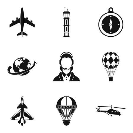 Jeu d'icônes de Gareautrain, style simple Banque d'images - 87633003