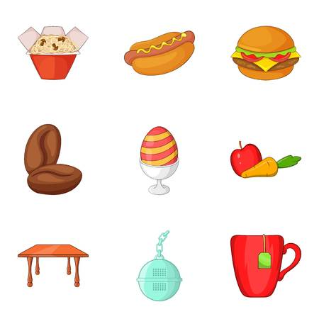 Oily food icons set, cartoon style Illustration