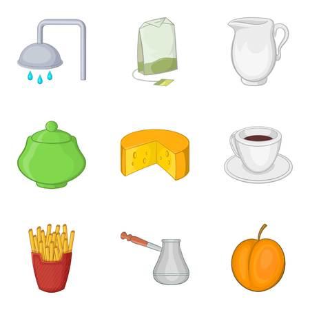 Dispositif pour le jeu d'icônes de thé, style cartoon