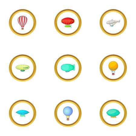 Hot air balloon icons set, cartoon style