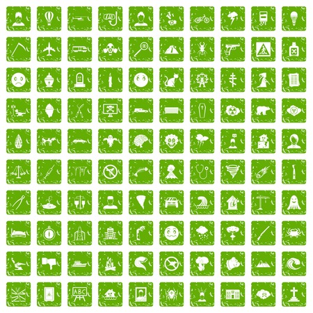 100 phobias icons set grunge green Иллюстрация