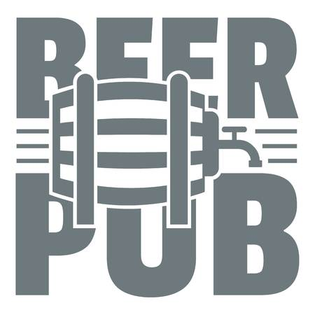 Beer pub logo, simple gray style Illustration