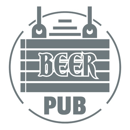 Wood board beer pub logo, simple gray style