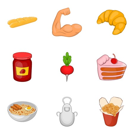 Junk food icons set, cartoon style