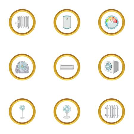Electric heater icons set, cartoon style