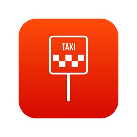 Sign taxi icon digital red