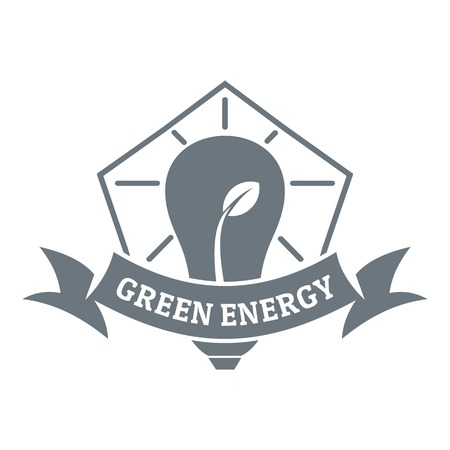 Bulb eco energy logo, simple gray style