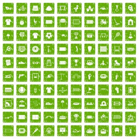 100 jeu d'icônes de jeu grunge vert Banque d'images - 86800290