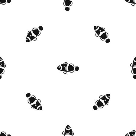 Cute clown fish pattern seamless black