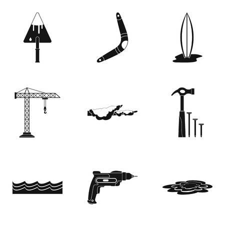 Fixing the bridge icons set, simple style Ilustração