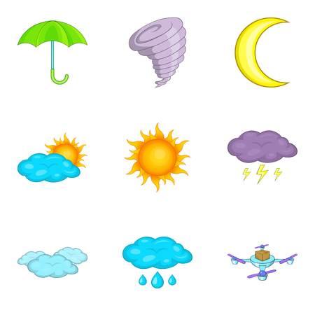 Flight weather icons set, cartoon style