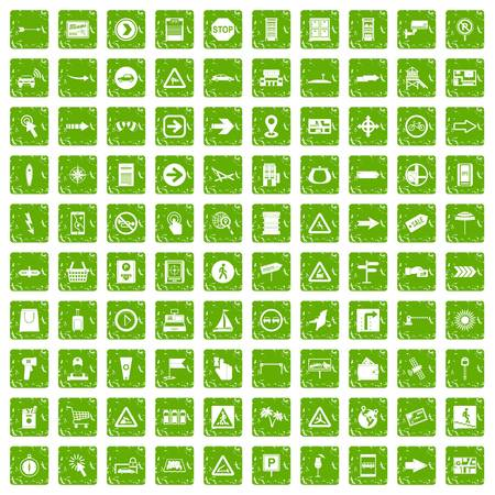 100 pointers icons set grunge green
