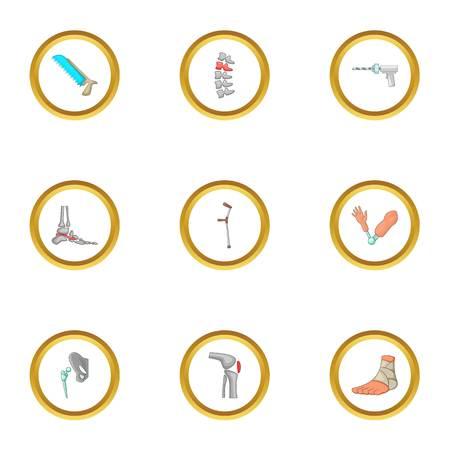 Orthopedic icons set, cartoon style